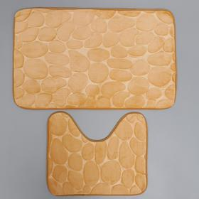 Набор ковриков для ванны и туалета Доляна «Камни», объёмные, 2 шт: 40×50, 50×80 см, цвет бежевый