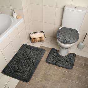 Набор ковриков для ванны и туалета Доляна «Узор», 3 шт: 38×43, 40×50, 50×80 см, цвет серый