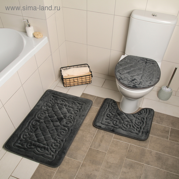 """Set of floor mats for bathroom and toilet """"the Pattern"""" volumetric, 3-piece, brown"""