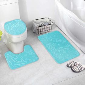 Набор ковриков для ванны и туалета «Дельфины», объёмные, 3 шт: 39×43, 40×50, 50×80 см, цвет МИКС