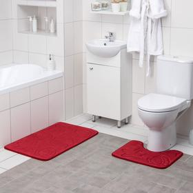 Набор ковриков для ванны и туалета Доляна «Ракушки», объёмные, 2 шт: 40×50, 50×80 см, цвет бордовый