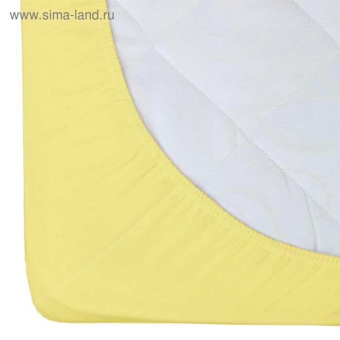 Простыня трикотажная на резинке Гутен Морген, размер 140х200х20 см, 140 гр/м2, цвет лимон
