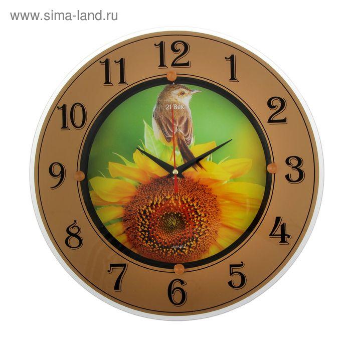 """Часы стеклянные круглые """"Птичка на цветке"""", цифры на кольце, 32х32 см"""