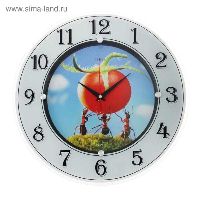 """Часы стеклянные круглые """"Муравьи и помидор"""", цифры на кольце, 32х32 см"""