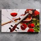"""Часы настенные прямоугольные """"Розы и скрипка"""", 61х37 см микс"""