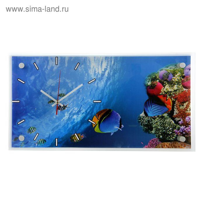 """Часы настенные прямоугольные """"Подводный мир"""", 53х27 см"""