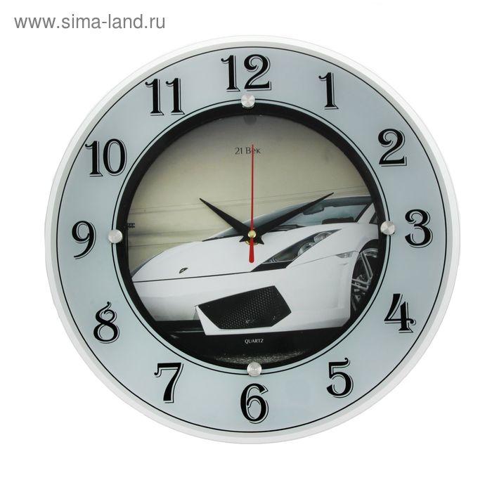 """Часы стеклянные круглые """"Спорткар"""", цифры на кольце, 32х32 см"""