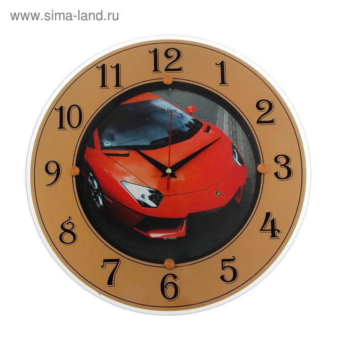 "Часы стеклянные круглые ""Ламборджини"", цифры на кольце, 32х32 см"