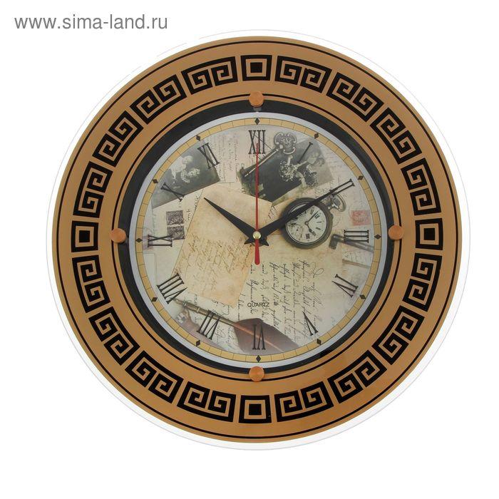 """Часы настенные круглые """"Ретро"""", узорчатое кольцо 838, 32х32 см"""