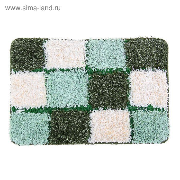 "Коврик для ванной ""Шахматы"" 40х60 см, цвет зеленый"