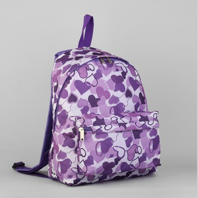 """Рюкзак молодёжный на молнии """"Сердца"""", 1 отдел, 1 наружный карман, цвет сиреневый"""