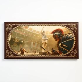 """Нарды """"Аве Цезарь"""", деревянная доска 60х60 см, с полем для игры в шашки"""
