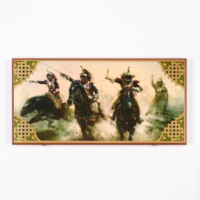 """Нарды """"Атака"""", деревянная доска 60х60 см, с полем для игры в шашки"""