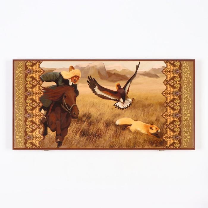 """Нарды """"Охота с беркутом"""", деревянная доска 60х60 см, с полем для игры в шашки"""