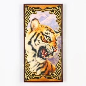 """Нарды """"Тигр """", деревянная доска 40х40 см, с полем для игры в шашки"""