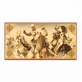 """Нарды """"Крестоносцы"""", деревянная доска 40х40 см, с полем для игры в шашки, микс"""