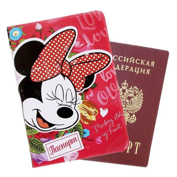 "Обложка для паспорта ""Love"", Микки Маус"