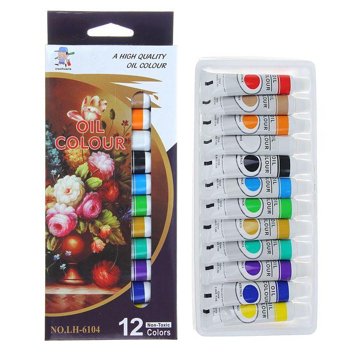 Краски масляные 12цв в пласт тубе 12мл в картонной коробке