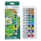 Краски гуашь 12цв в пластик тубе 12мл в картонной коробке
