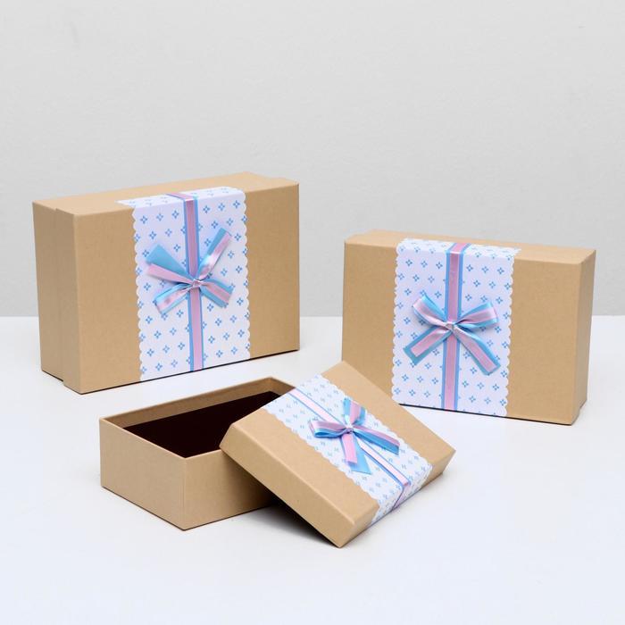 """Набор коробок 3 в 1 крафт """"Цветочки"""", 26 х 18 х 9,5 - 19 х 13 х 6,5 см - фото 727356557"""