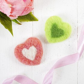 Felting wool Heart MIX colors