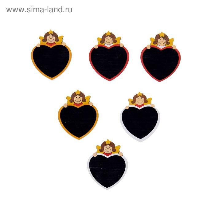 """Прищепки-декор """"Сердце с ангелочком"""" для надписей мелом, набор 6 шт."""