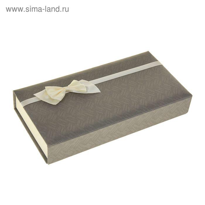 "Коробка подарочная прямоуг 12,5 х 25 х 4 см ""Бантик"", цвет серый"
