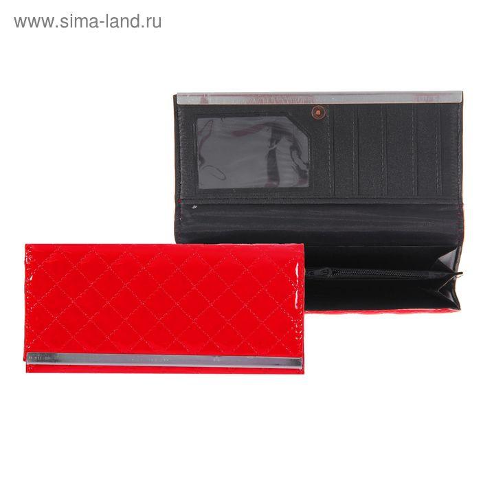 """Кошелёк женский """"Ромб"""", 3 отдела, отдел для карт, красный"""