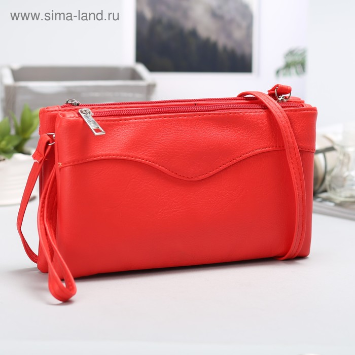 """Клатч """"Классика"""", 2 отдела, наружный карман, ручка, длинный ремень, красный"""