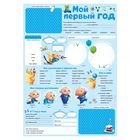 "Poster for a newborn with stickers ""My first year"" blue"