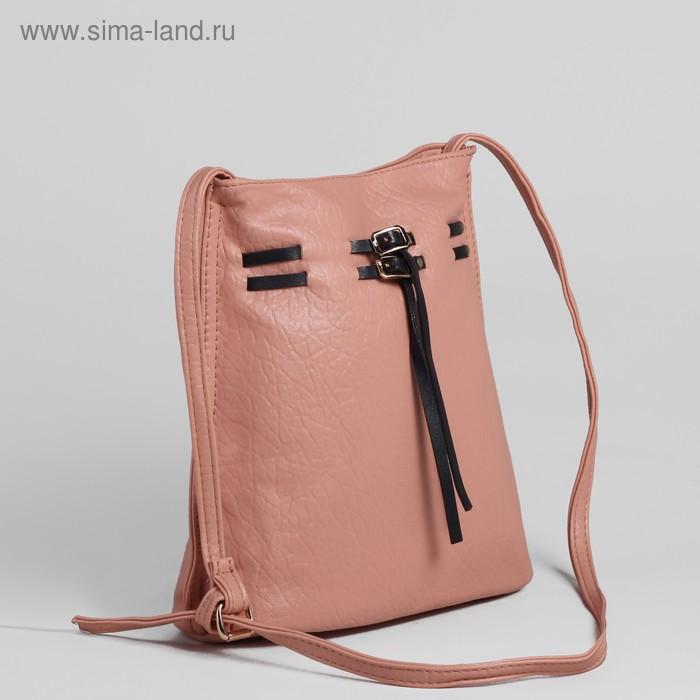 Сумка женская, 1 отдел, длинный ремень, розовый