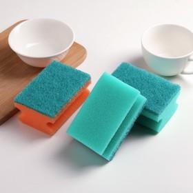 Набор губок бытовых с чистящим слоем 10×6,5×4,5 см 'Супер', 3 шт, цвет МИКС Ош
