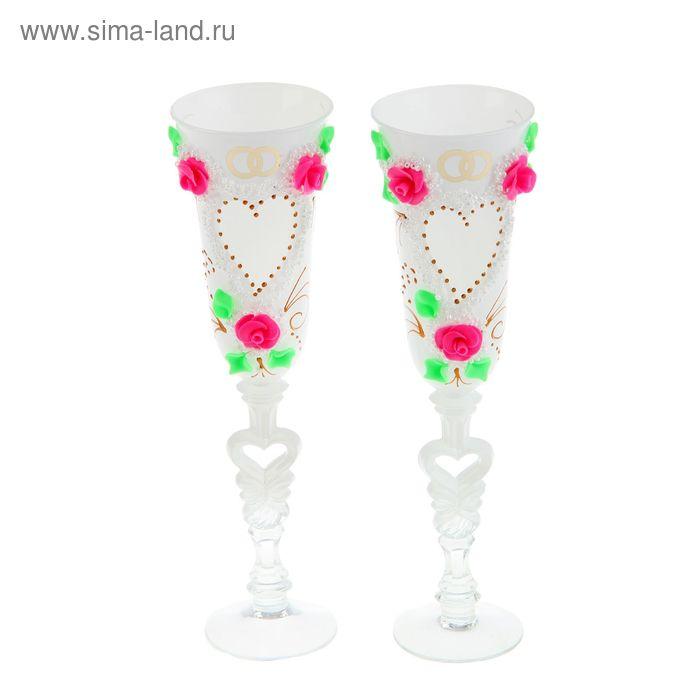 """Набор свадебных бокалов """"Сердце""""  с розовыми розочками"""