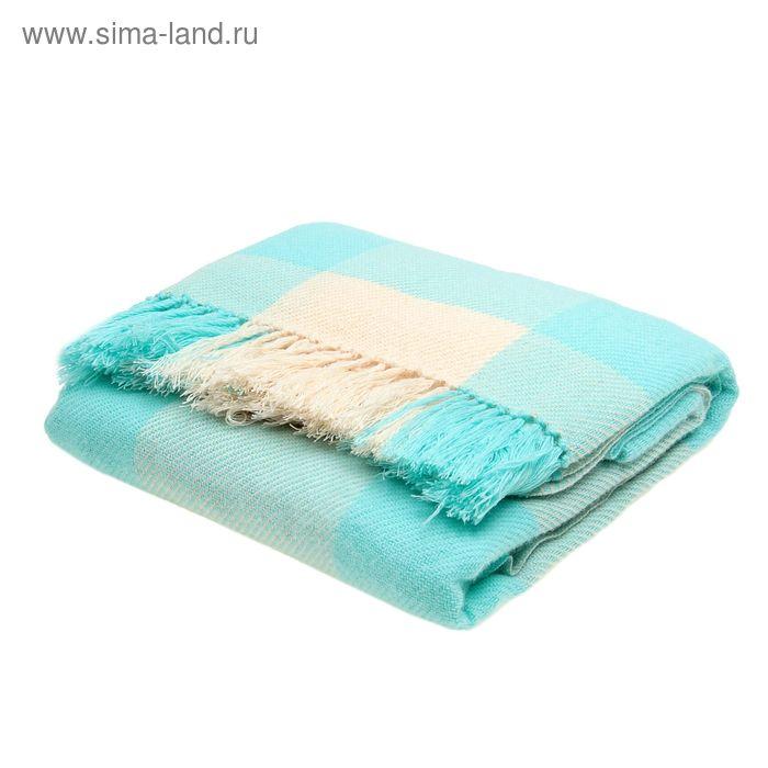 Плед ворсованный, размер 140х200 см, край узелки, 240 гр/м, цвет жемчужный/лед