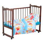 """Детское постельное бельё """"Карамелька"""" Плюшевые мишки, размер 112х147 см, 60х120х20 см (трикотажная простыня на резинке), 40х60 см-1шт., цвет голубой"""
