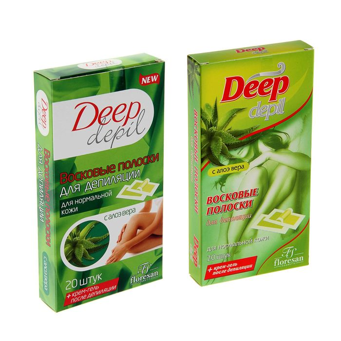 Deep Depil Wax Strips with Aloe Vera, for Normal Skin, 20 pcs.