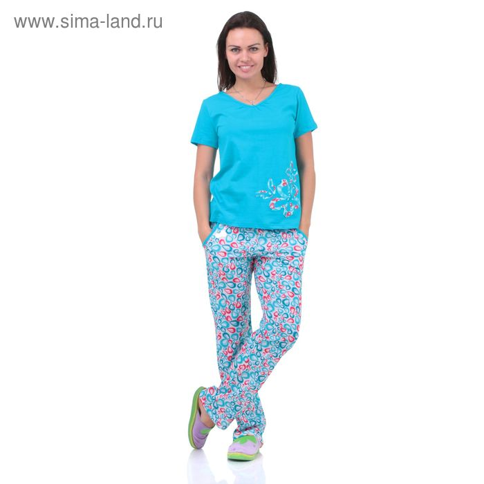 Пижама женская 5513  белый/бон-бон/прохлада, р-р 48 (96-102)