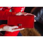 Кошелёк женский, 2 отдела на клапане, цвет красный