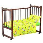 """Детское постельное бельё """"Карамелька"""" Неразлучные друзья, размер 112х147 см, 60х120х20 см (трикотажная простыня на резинке), 40х60 см-1шт., цвет зелёный"""