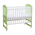 Детская кроватка «Фея 323» на колёсах или качалке, цвет белый/мята