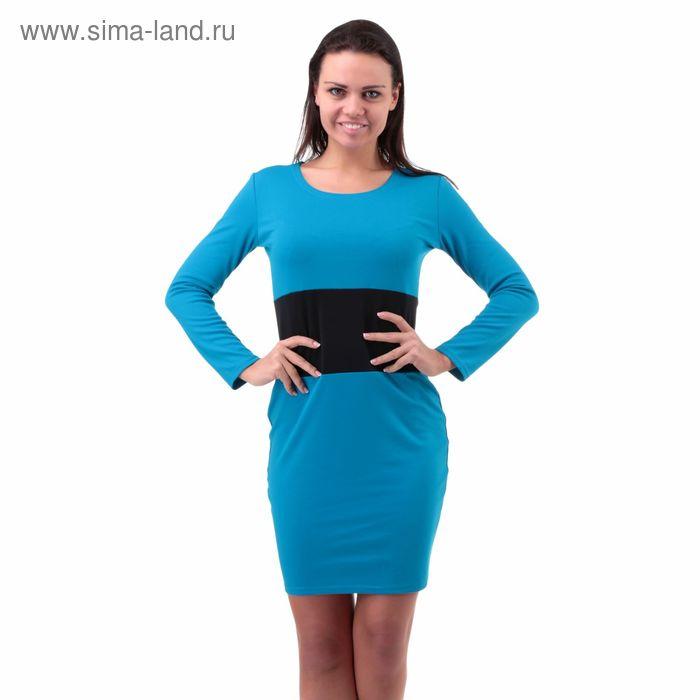 Платье женское Dj6-6 голубой/черный, р-р 44-46 (M) джерси