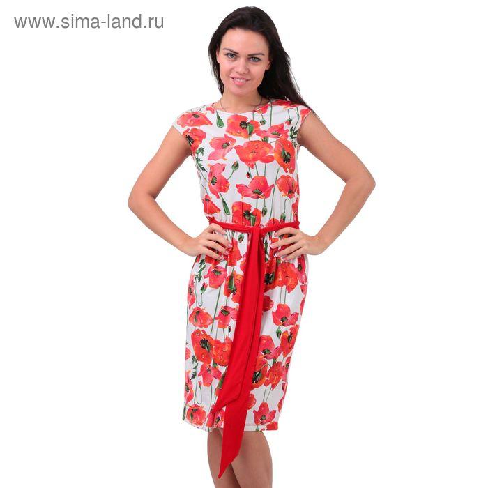 Платье женское 5753 отварка/маки/чили, р-р 52 (104-110)