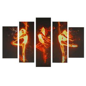 "Картина модульная на подрамнике ""Огненный танец"" 2-25х53, 2-25х67, 1-25х80, 80х140 см"