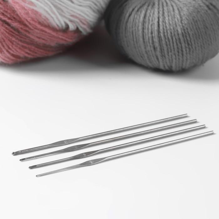 Крючки для вязания металлические «Рукодельница», d = 1; 1,2; 1,6; 2 мм, 13,5 см, 4 шт.