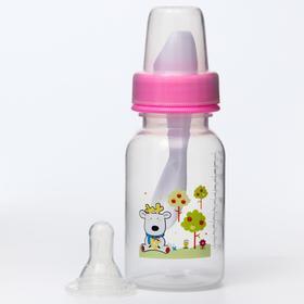 Бутылочка для кормления 3 в 1, в комплекте ложка и носик-поильник, 125 мл, от 0 мес., цвета МИКС