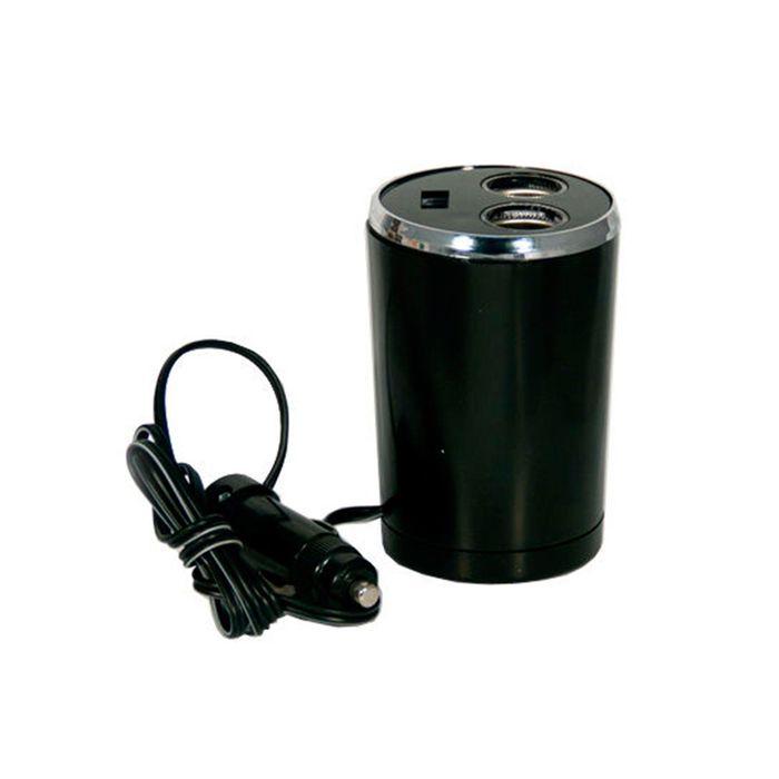 Разветвитель прикуривателя Nova Bright, 2 выхода+USB, в подстаканник, с подсветкой