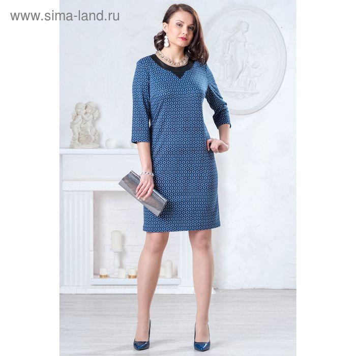 Платье женское 4388, размер 46, рост 164 см, цвет синий/черный/белый