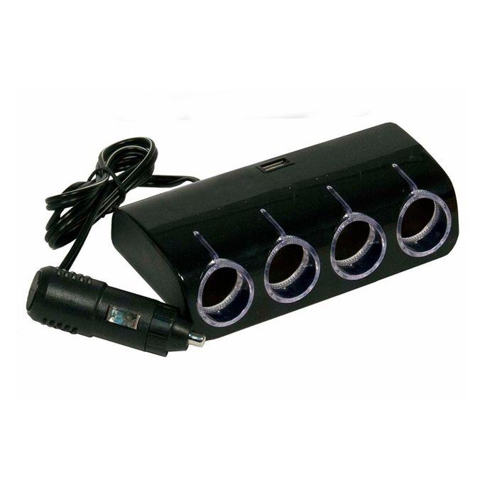 Разветвитель прикуривателя Nova Bright, 4 выхода+USB, подсветка, 12/24 В, 1000 mA