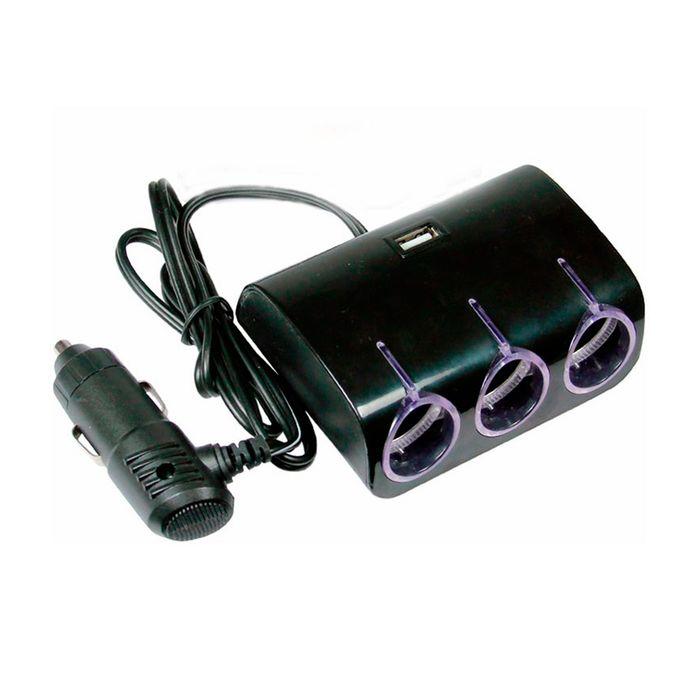 Разветвитель прикуривателя Nova Bright, 3 выхода+USB, подсветка, 12/24 В, 1000 mA