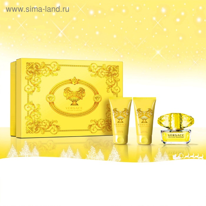 Парфюмированный набор Versace Yellow Diamond: туалетная вода, 50 мл + гель для душа, 50 мл + лосьон для тела, 50 мл